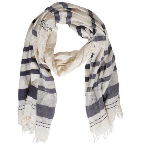 Asia, Scarf, Navy Stripes on Beige