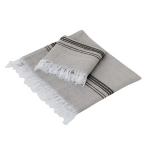 Marl, Turkish Towel, Beige & Black