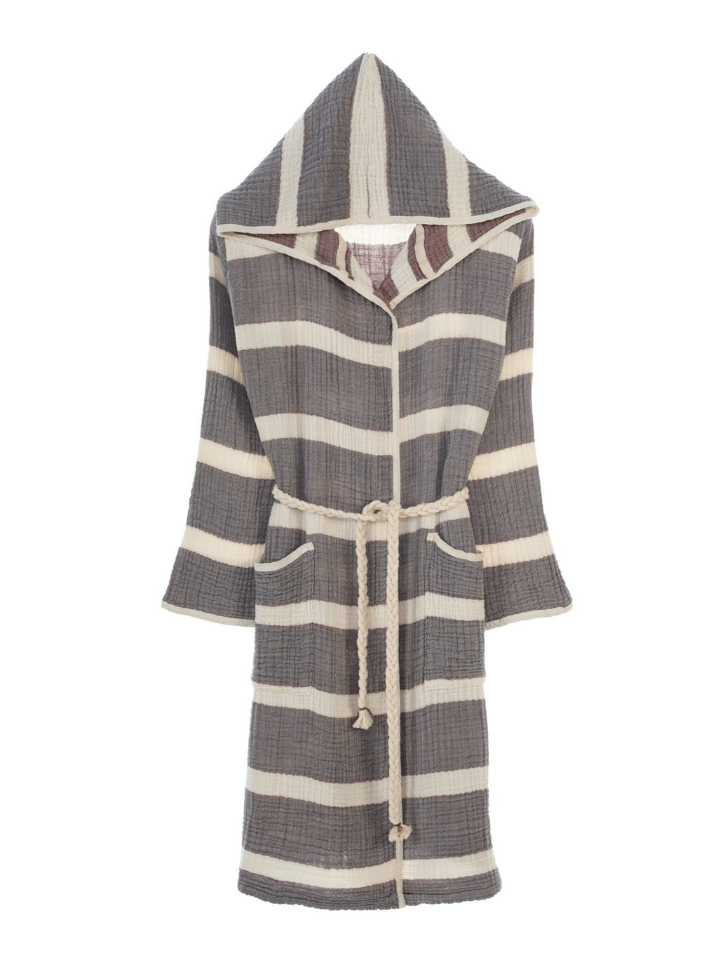 Quattro Bathrobe, 4-Layer Turkish Towel, Anthracite & Burgundy