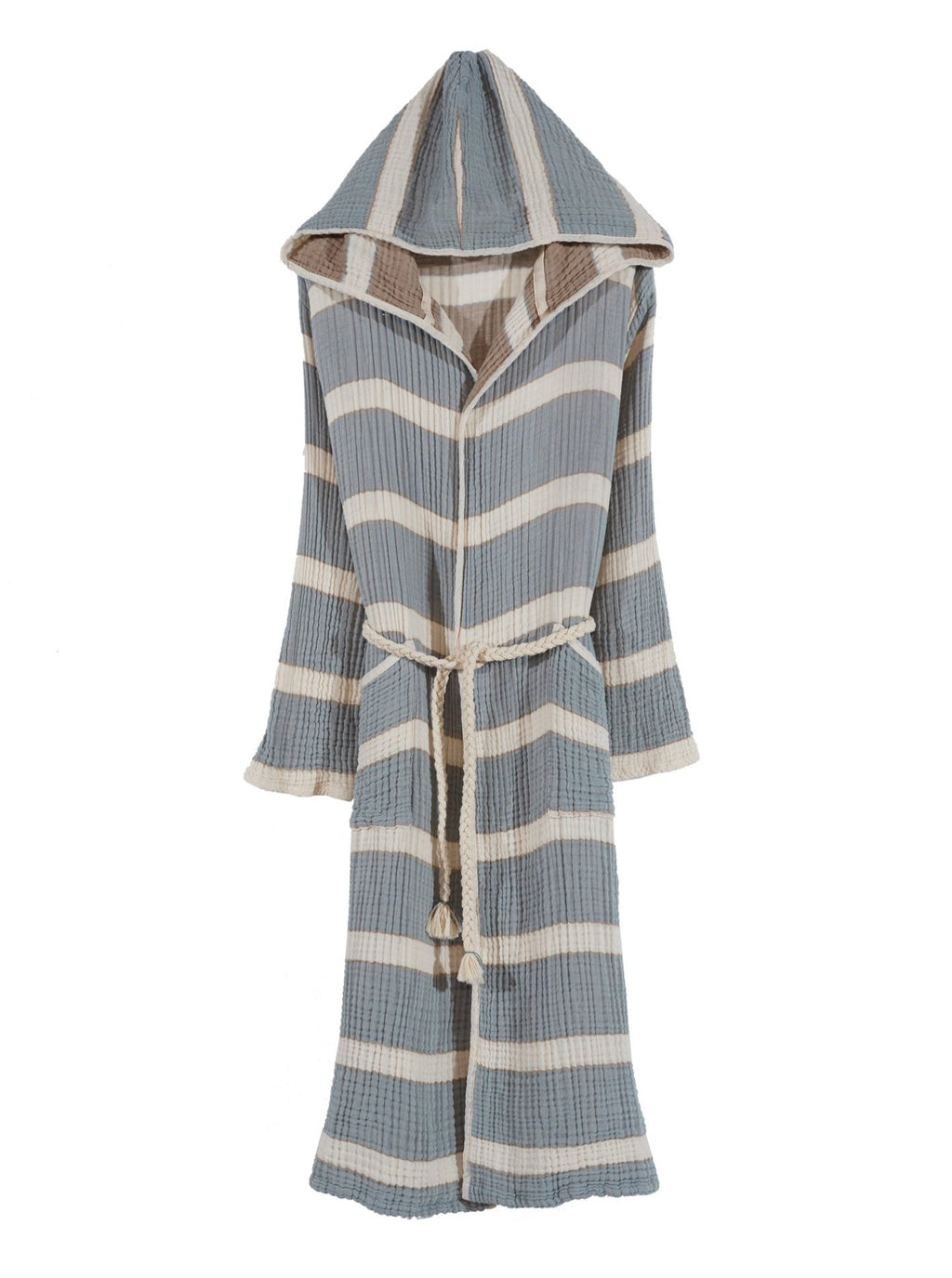 Quattro Bathrobe, 4-Layer Turkish Towel, Blue & Khaki