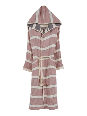 Quattro Bathrobe, 4-Layer Turkish Towel, Rose & Anthracite