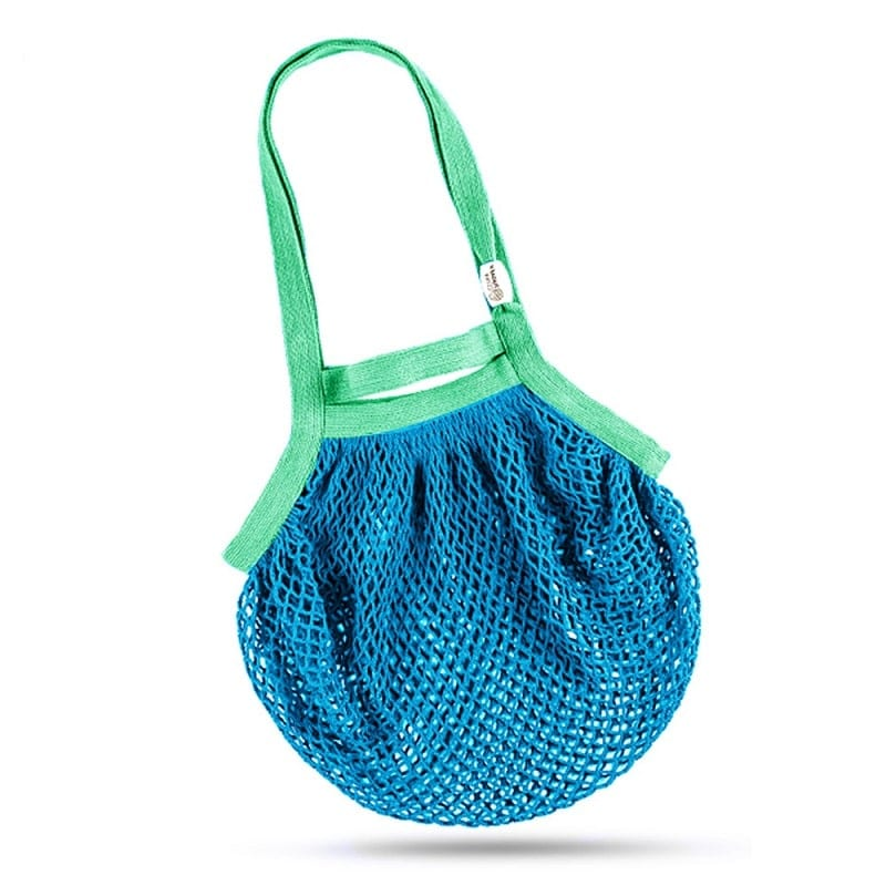 Cotton Net Bag, Double Handles, Turquoise & Green