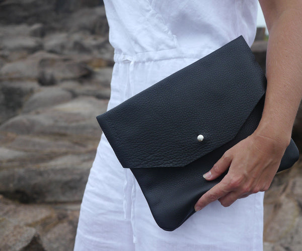 soft black leather envelope clutch