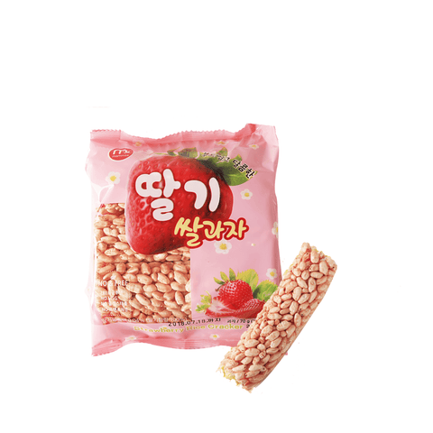 Crunchy Rice Rolls Strawberry Flavor - 70g Snackoo