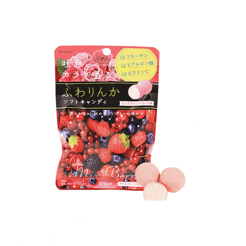 Kracie Mixed Berry Rose Candy - 32g Snackoo