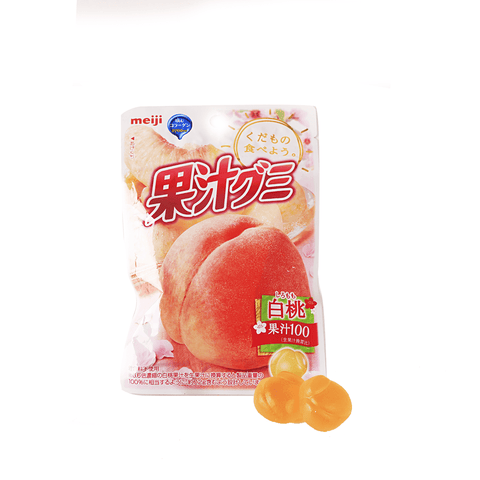 Meiji White Peach Gummy - 47g Snackoo