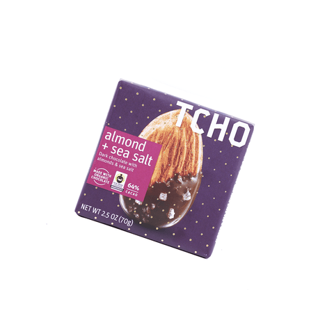 Tcho Dark Chocolate Almond+Sea Salt - 70g Snackoo