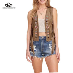 Faux suede ethnic floral embroidered sleeveless tassels fringed vest