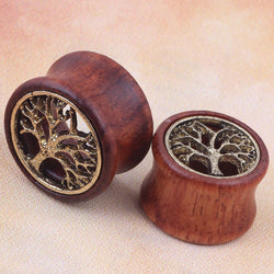 Tree of Life Hollow Red Wood Ear Gauges