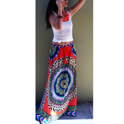 Floral Pleated Long Maxi Skirt