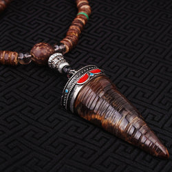 evade peace ox horn cone Necklace from Nepal