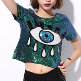 2016 New Jazz Performances Dance Costumes Clothes Hip-Hop t Shirt Women Eyes Sequined Tops 1993