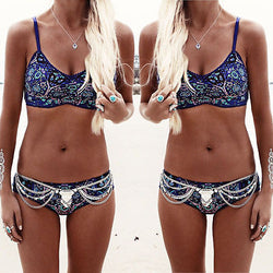 Boho Floral Padded Top Swimsuit Set