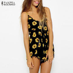 Sunflower Print Playsuit Short Rompers
