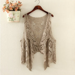 Sexy Hollow Out Lace Crochet  Vest