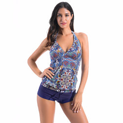 Flower Printed Two Pieces Tankini Bathing Suit