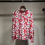 100% Silk Floral Print Long Sleeve Casual Loose Red Blouse