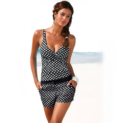 Padded Two Piece Dot  Tankini  Top  Bathing Suit