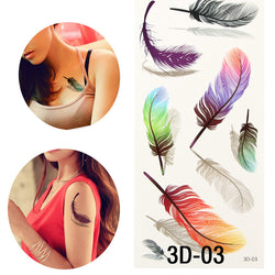 Colorful  Feather Henna Fake Tattoo