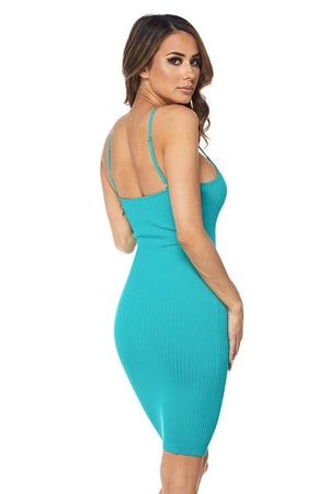 Turquoise Spaghetti Strap Mini Dress