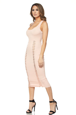 Double Lace Up Midi Dress