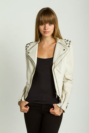 Studded Shoulder Moto Jacket - ZEMA Boutique  - 2