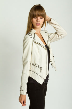 Studded Shoulder Moto Jacket - ZEMA Boutique  - 1
