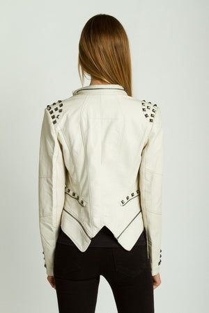 Studded Shoulder Moto Jacket - ZEMA Boutique  - 3