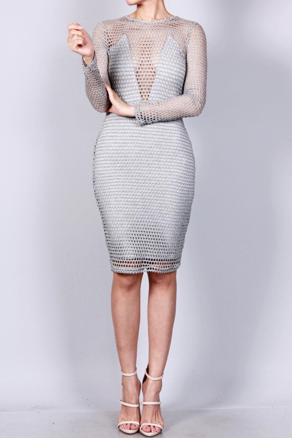 Fishnet overlay body con dress zema style for Fish net dress