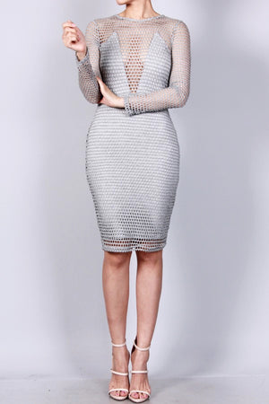 Fishnet Overlay Body-Con Dress