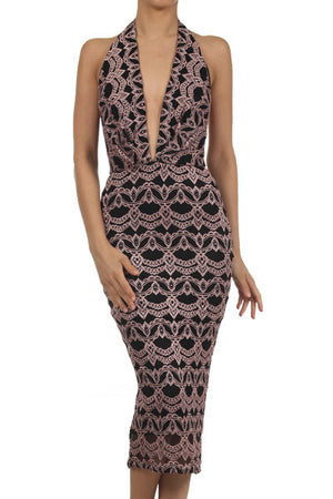 Lace halter midi dress - ZEMA Boutique  - 1