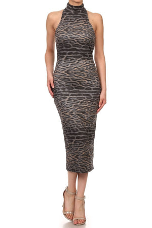 Faux Suede Leopard Printed Dress - ZEMA Boutique  - 1