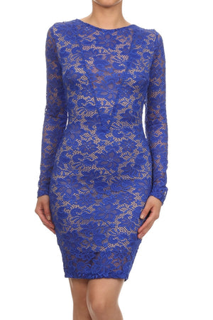 Blue lace round neckline mini dress - ZEMA Boutique  - 3