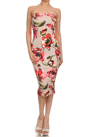 Strapless flower print dress - ZEMA Boutique  - 3