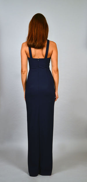 Embellished neckline maxi dress with front slit - ZEMA Boutique  - 3