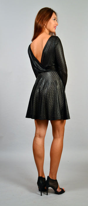 Long sleeve faux leather dress - ZEMA Boutique  - 2