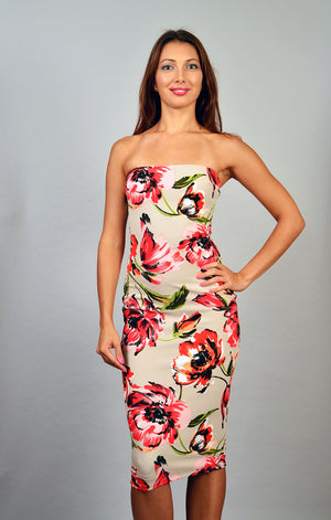 Strapless flower print dress - ZEMA Boutique  - 1