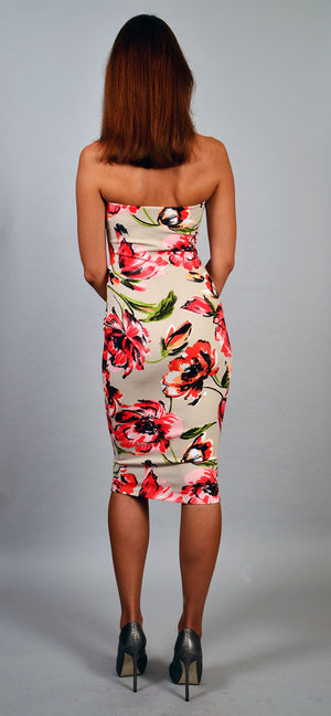 Strapless flower print dress - ZEMA Boutique  - 2