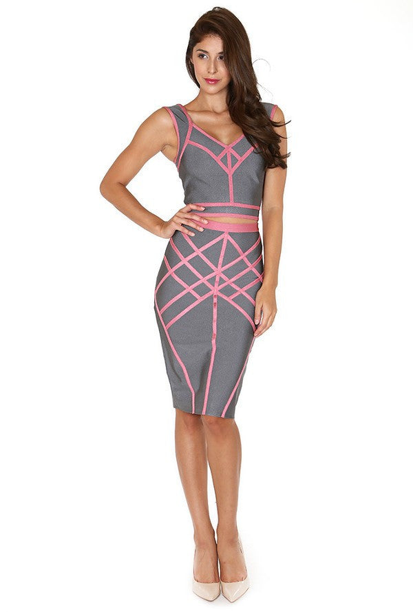 Bandage Pencil Skirt & Cropped Top - ZEMA Boutique  - 1