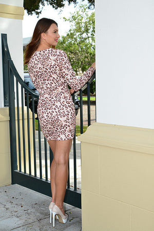 Faux suede Cheetah mini dress - ZEMA Boutique  - 2