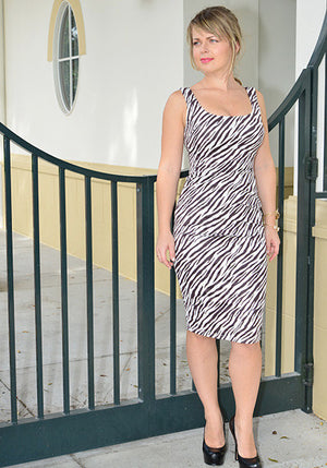 Faux suede Zebra fitted dress - ZEMA Boutique  - 1