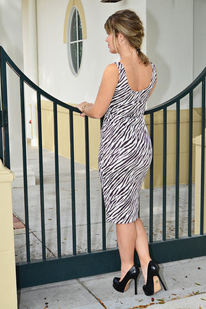 Faux suede Zebra fitted dress - ZEMA Boutique  - 2