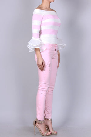 Pink Distressed Skinny Pants