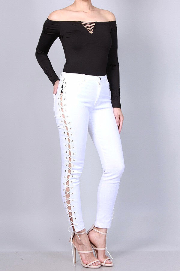 Lace-Up Skinny Ankle Jeans