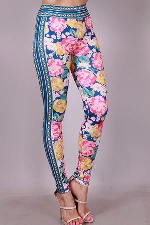 Flower Print Jacket Pants Set