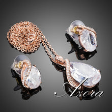 Azora Rose Gold Plated Waterdrop Swiss Stud Earrings Pendant Necklace Set