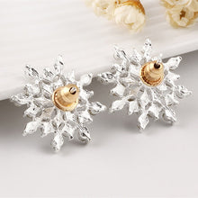 e- Snowflake stud earrings sterling silver diamond E 16-1-3