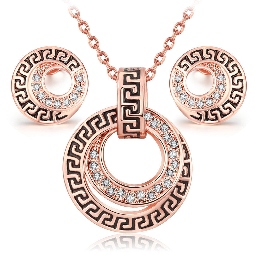 Bijoux ROSE gold plated crystal earring and necklace set