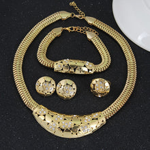 Jewelry sets, necklce, bracelet, earrings, crystal 18K gold platedmatching ring