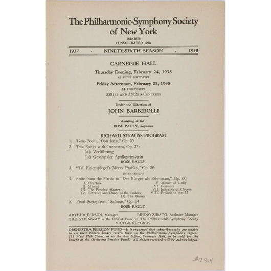 Strauss Programme - New York Phil, Rose Pauly - Carnegie Hall, 1938 (Digital Audio)
